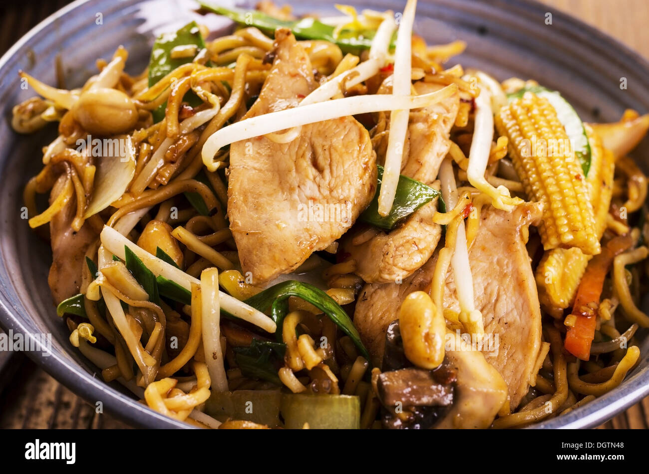 stir fried noodles with chicken Stock Photo