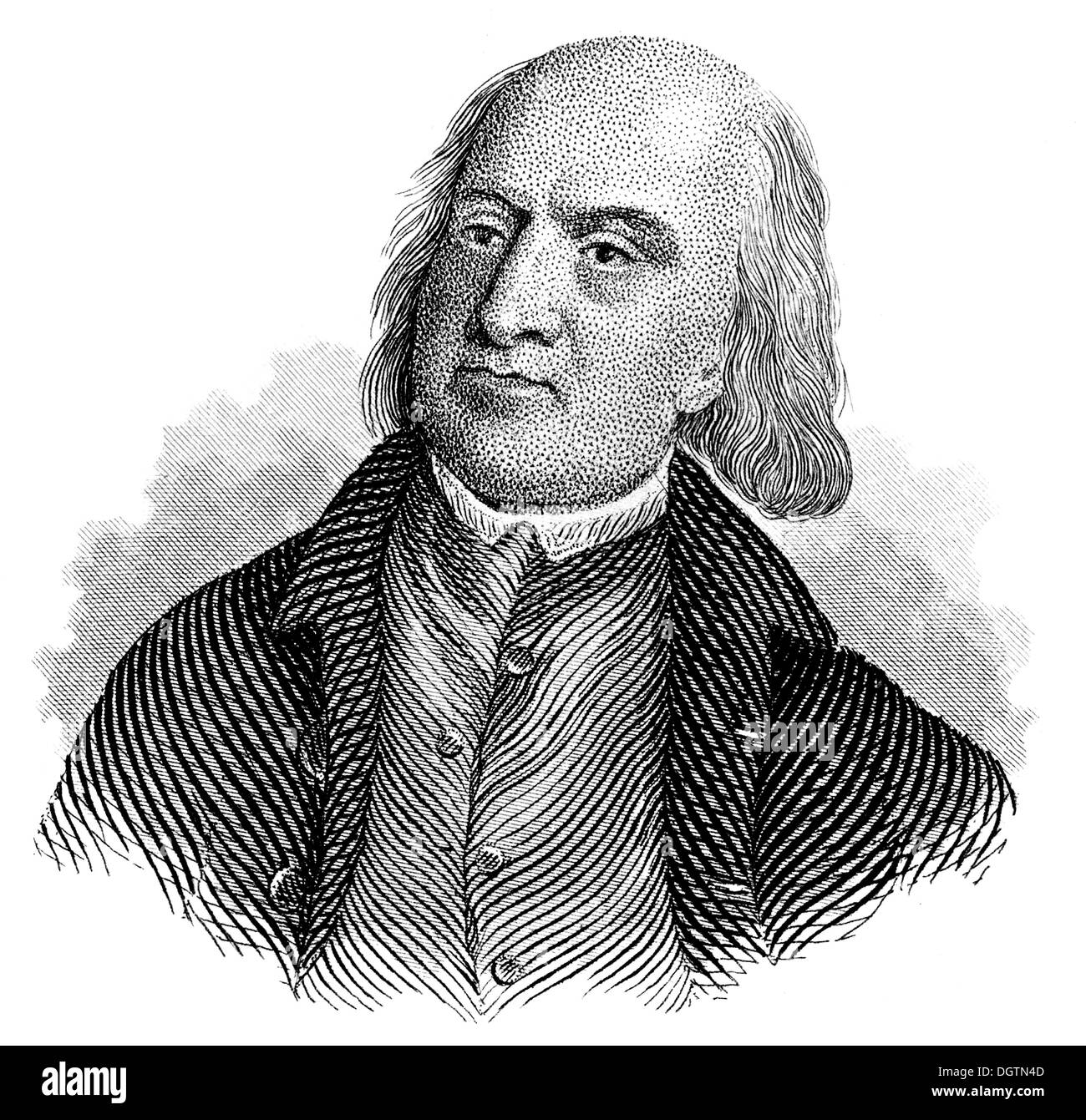 Jeremy Bentham, 1748 - 1832, a British philosopher, jurist, and social reformer, - Stock Image