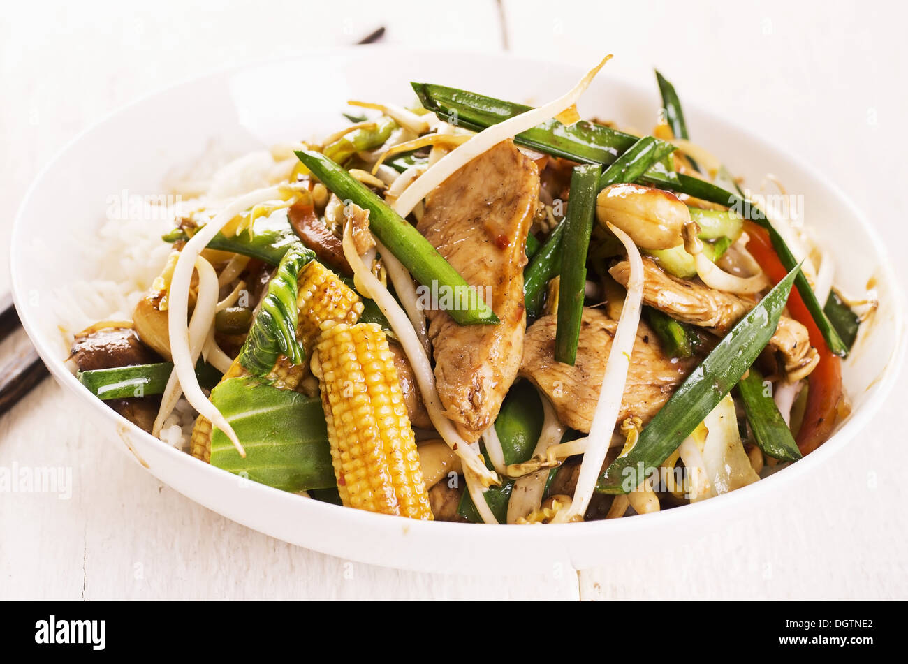chicken with vegetables with hoisin sauce - Stock Image