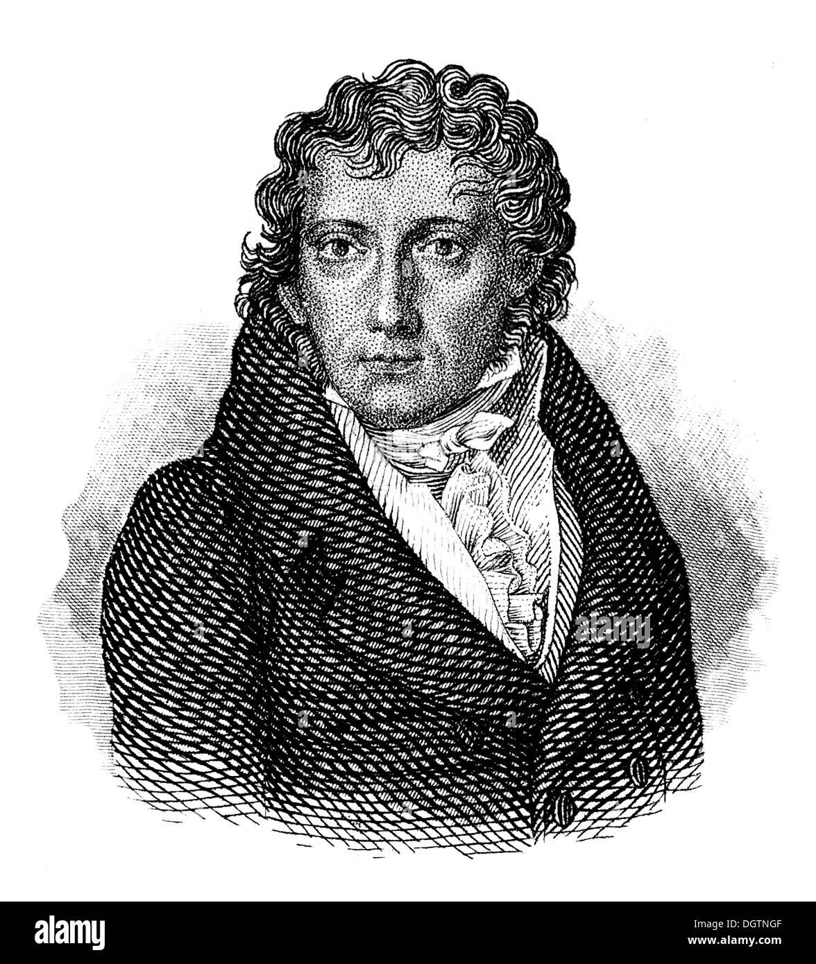 Friedrich Daniel Ernst Schleiermacher, 1768 - 1834, a Protestant theologian, classical scholar, philosopher, writer, - Stock Image