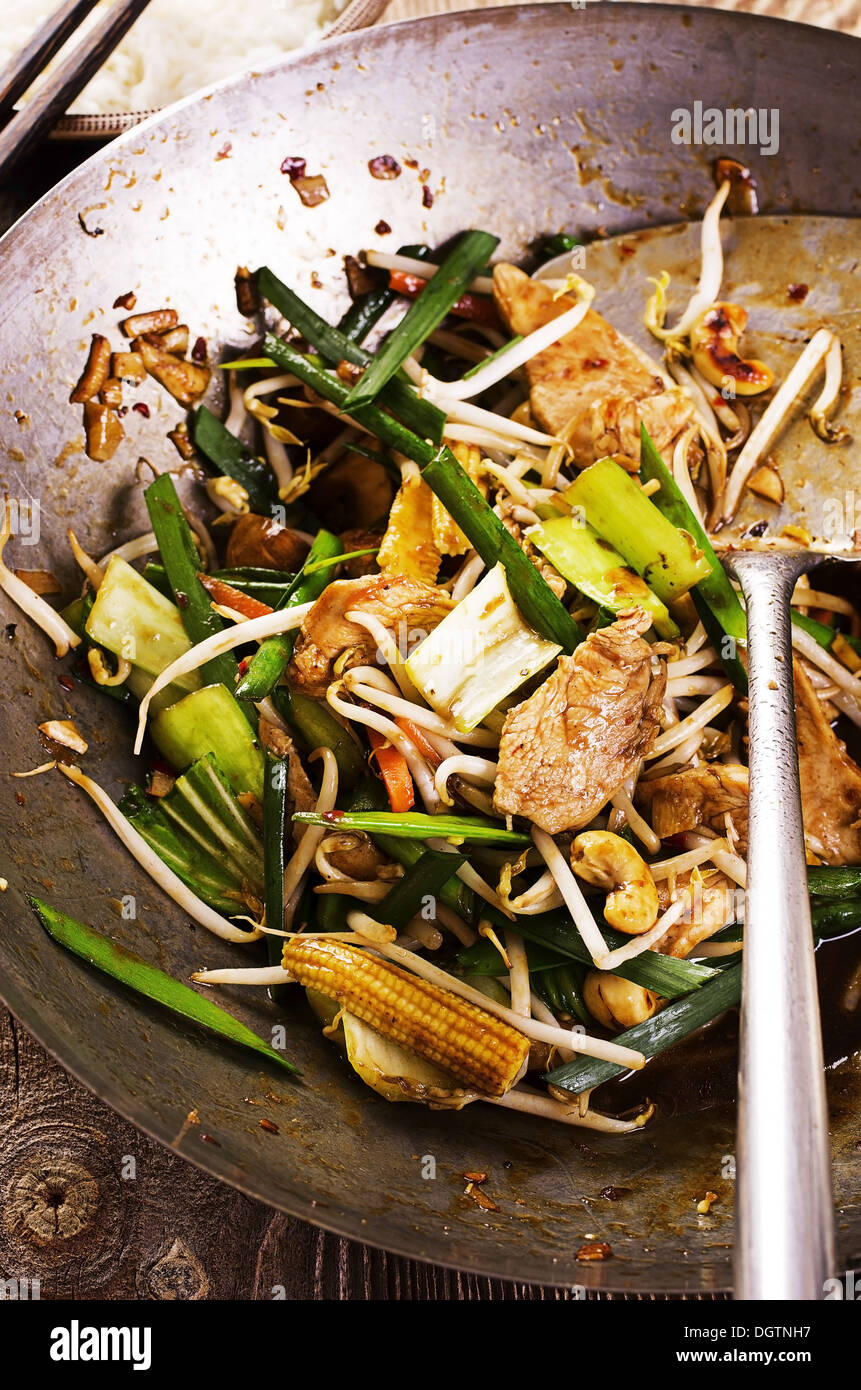 chicken with vegetables stir fried - Stock Image