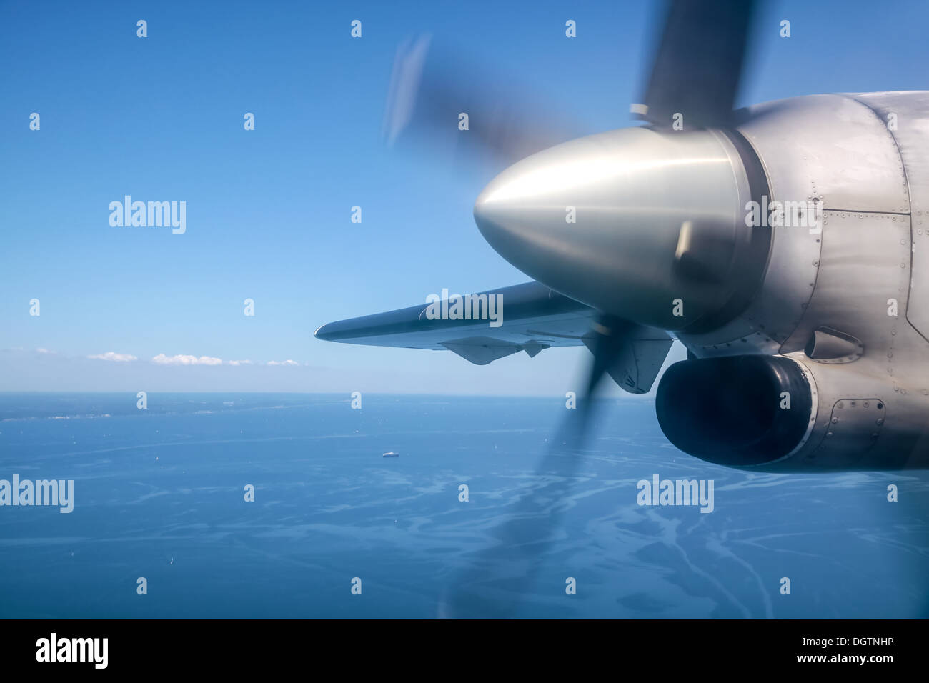 Running propeller and aerial view of the Baltic Sea near Bornholm, Denmark - Stock Image