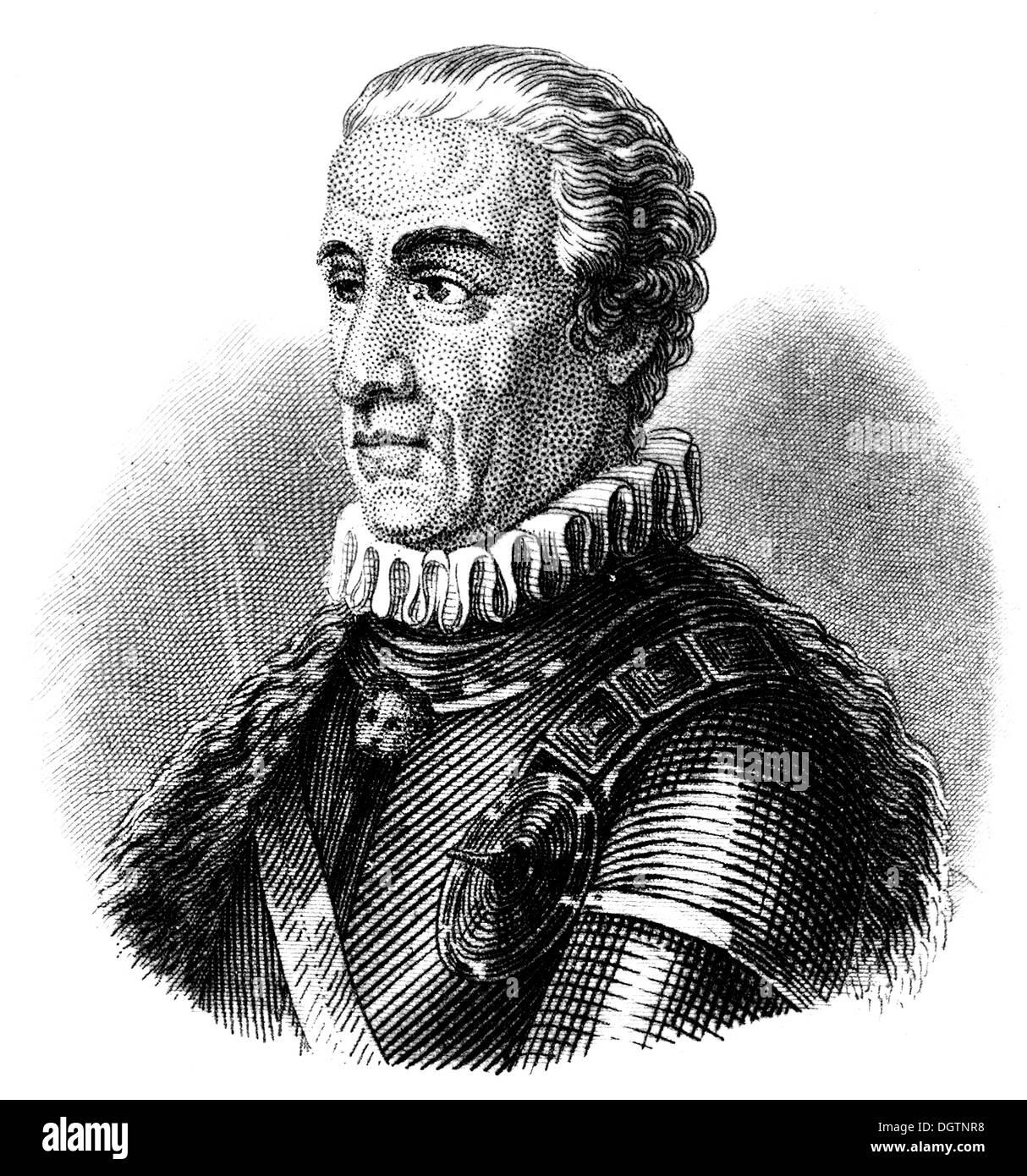 Gideon Ernst Freiherr von Laudon or Laudohn or Loudon, 1717 - 1790, an Austrian general, - Stock Image