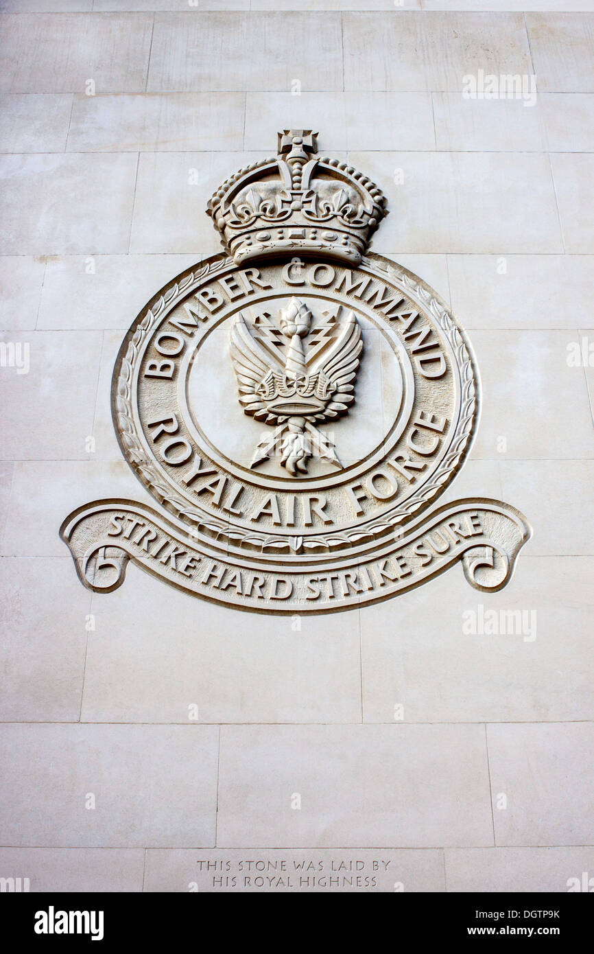 Bomber Command Memorial carved detail - Stock Image