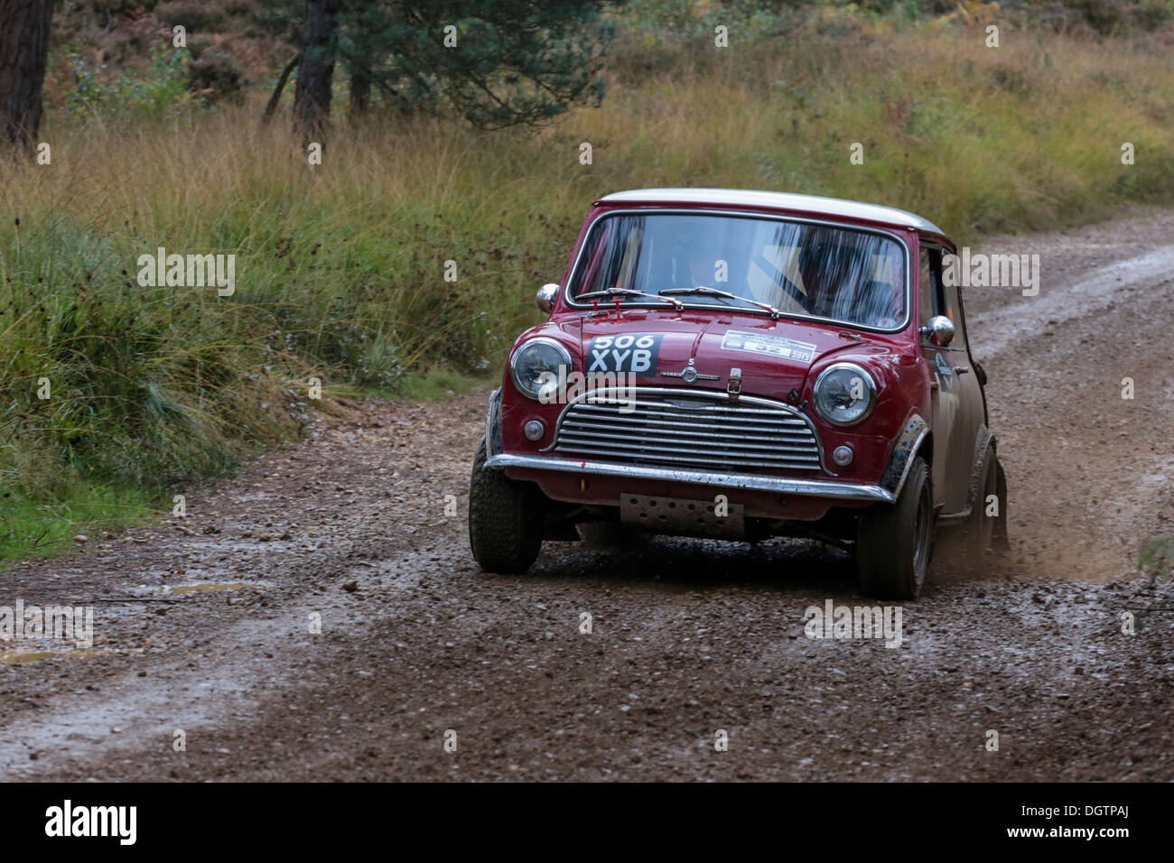 Morris Mini Cooper taking part in the Rallye Sunseeker Historique 2013 - Stock Image