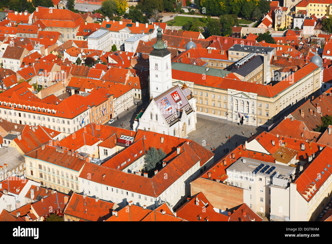 Zagreb aerial, st. Mark square and National Parliament Palace - Stock Image
