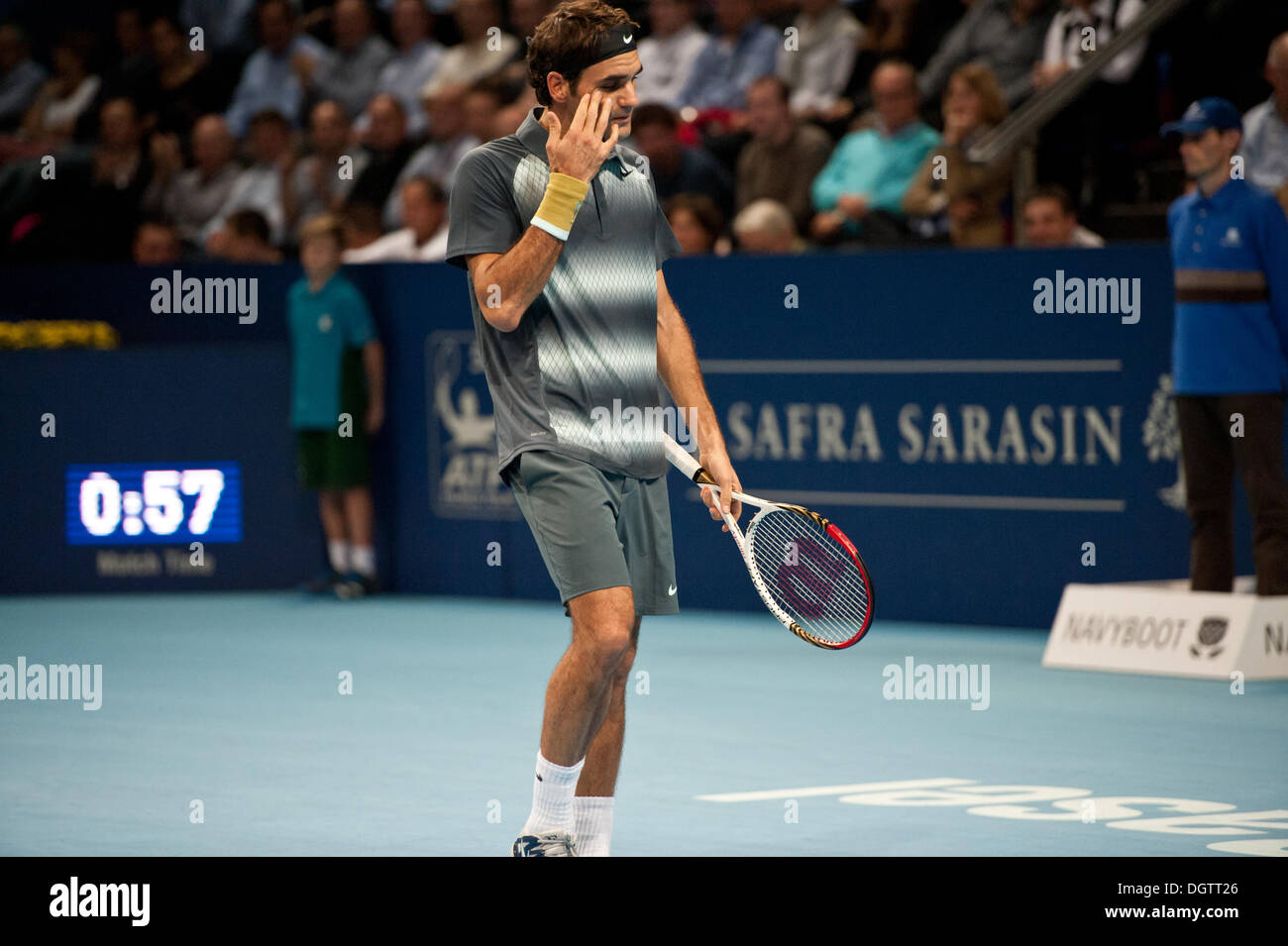 Basel, Switzerland. 25th Oct, 2013. Roger Federer (SUI) during a match of the quarter finals of the Swiss Indoors at St. Jakobshalle on Friday. Photo: Miroslav Dakov/ Alamy Live News - Stock Image