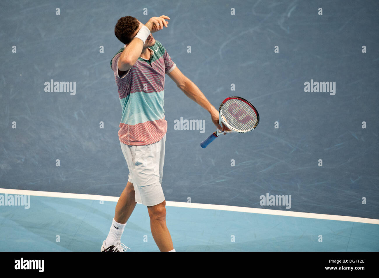 Basel, Switzerland. 25th Oct, 2013. Grigor Dimitrov (BUL) disappointed during a match of the quarter finals of the Swiss Indoors at St. Jakobshalle on Friday. Photo: Miroslav Dakov/ Alamy Live News - Stock Image