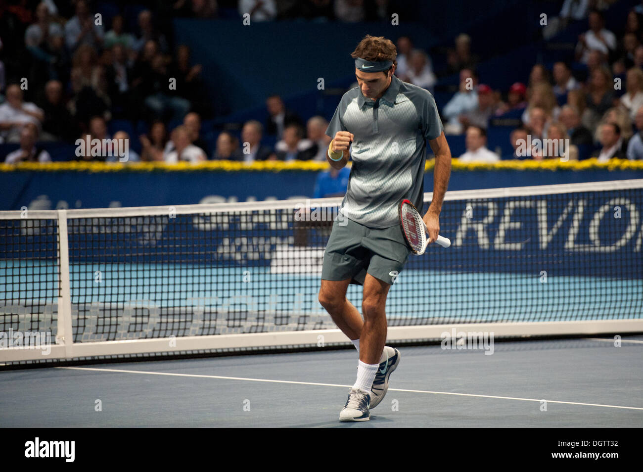 Basel, Switzerland. 25th Oct, 2013. Roger Federer (SUI) cheers during match of the quarter finals of the Swiss Indoors at St. Jakobshalle on Friday. Photo: Miroslav Dakov/ Alamy Live News - Stock Image