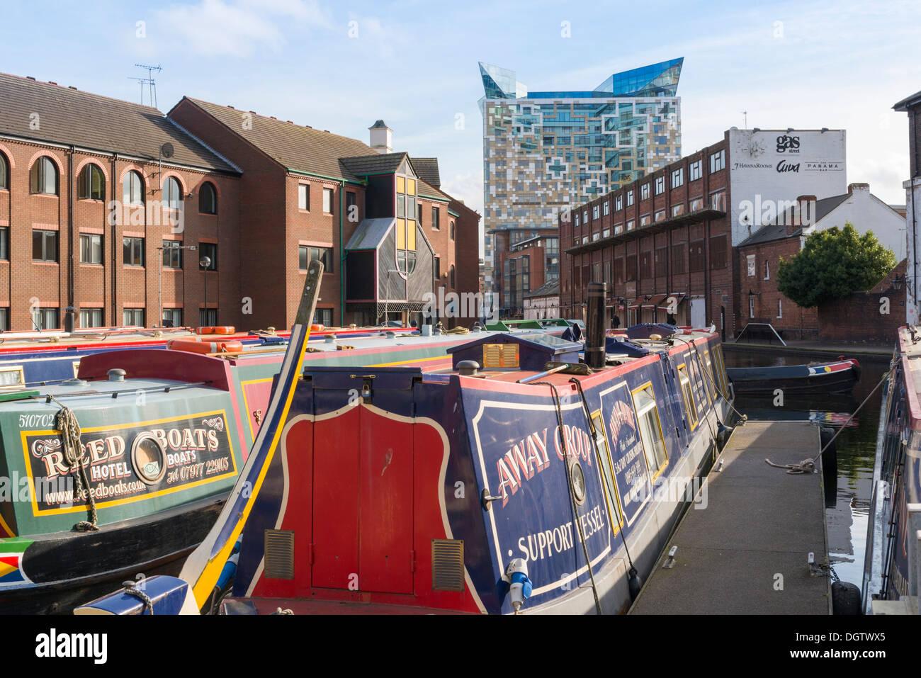 Gas Street Basin canal, Birmingham, West Midlands, England, UK - Stock Image