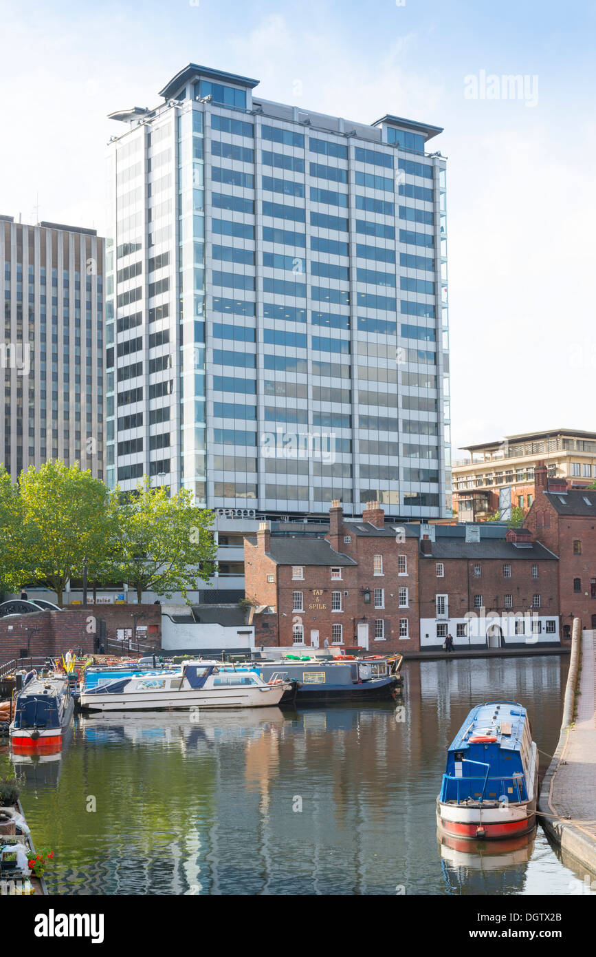 Quayside building as seen from Gas Street basin, Birmingham, West Midlands, England, UK - Stock Image