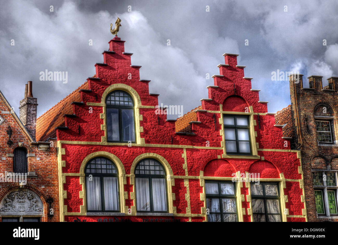 Colourful traditional buildings in Bruges, Belgium, image processed in HDR - Stock Image