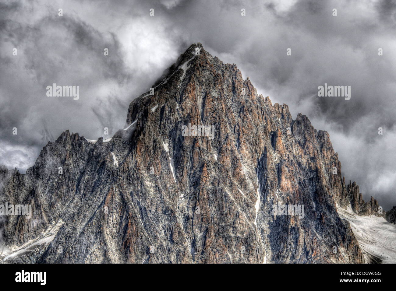 The Aiguille de Chardonnet in the French Alps, image processed HDR - Stock Image