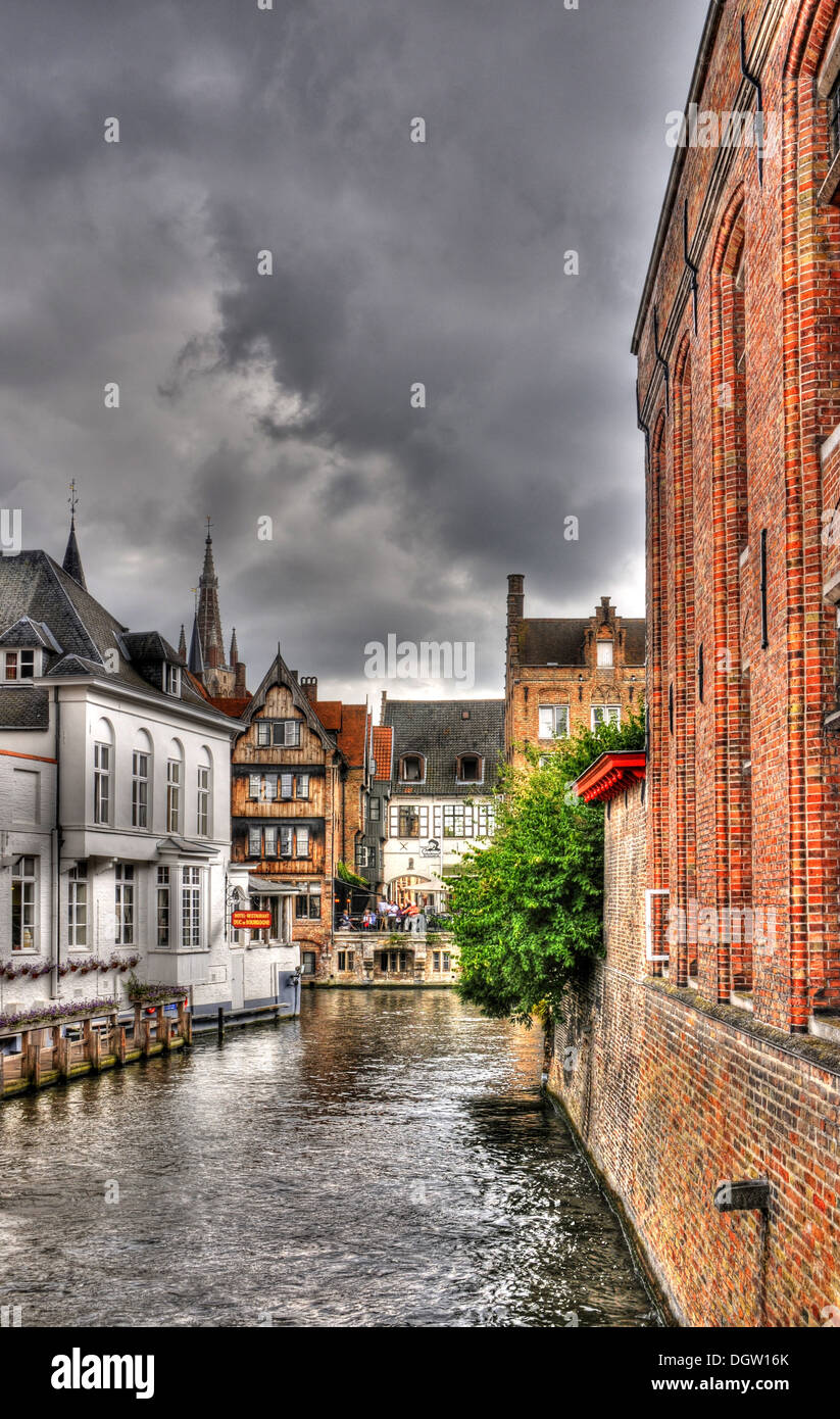 Canals and buildings in Bruges, Belgium, image processed in HDR - Stock Image
