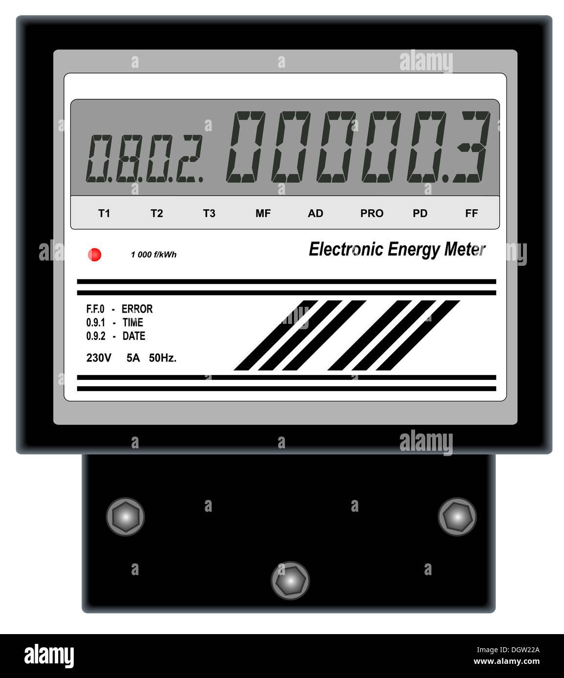 Electronic Energy Meter - Stock Image