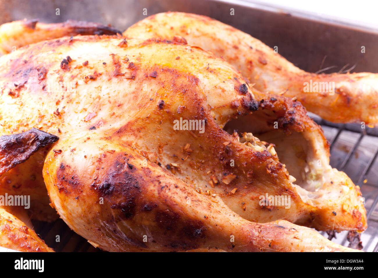 Roasted chicken ready to eat or serve - Stock Image