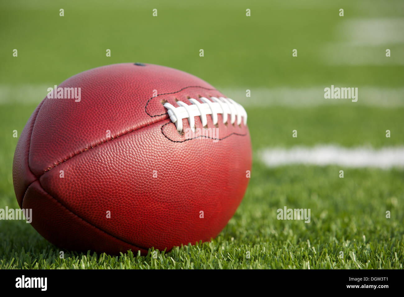 Pro American Football on the Field Close Up with room for copy, shot at shallow depth of field - Stock Image