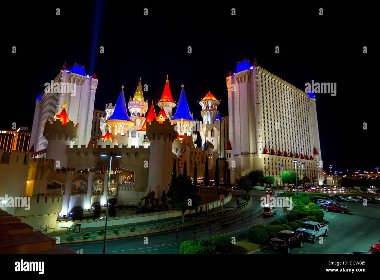 Excalibur hotel lite up at night Las Vegas Stock Photo
