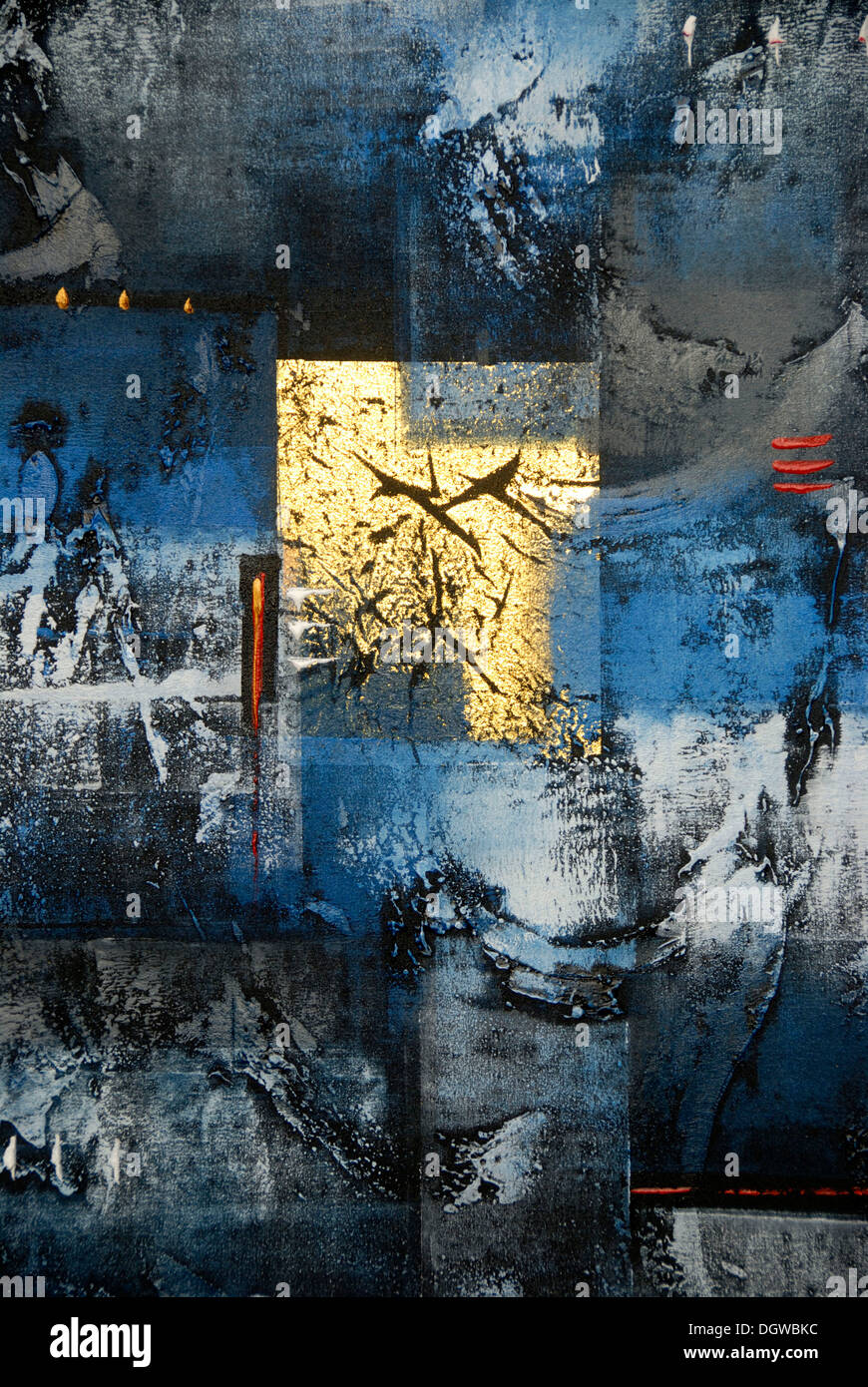 Abstract Art Painting In The Colours Gold Blue Black And