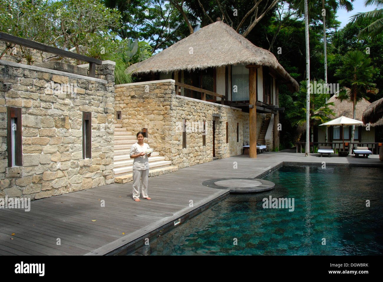 Hotel, pool area of a classy lodge, Como Shambhala Resort in Ubud, Bali, Indonesia, Southeast Asia, Asia - Stock Image