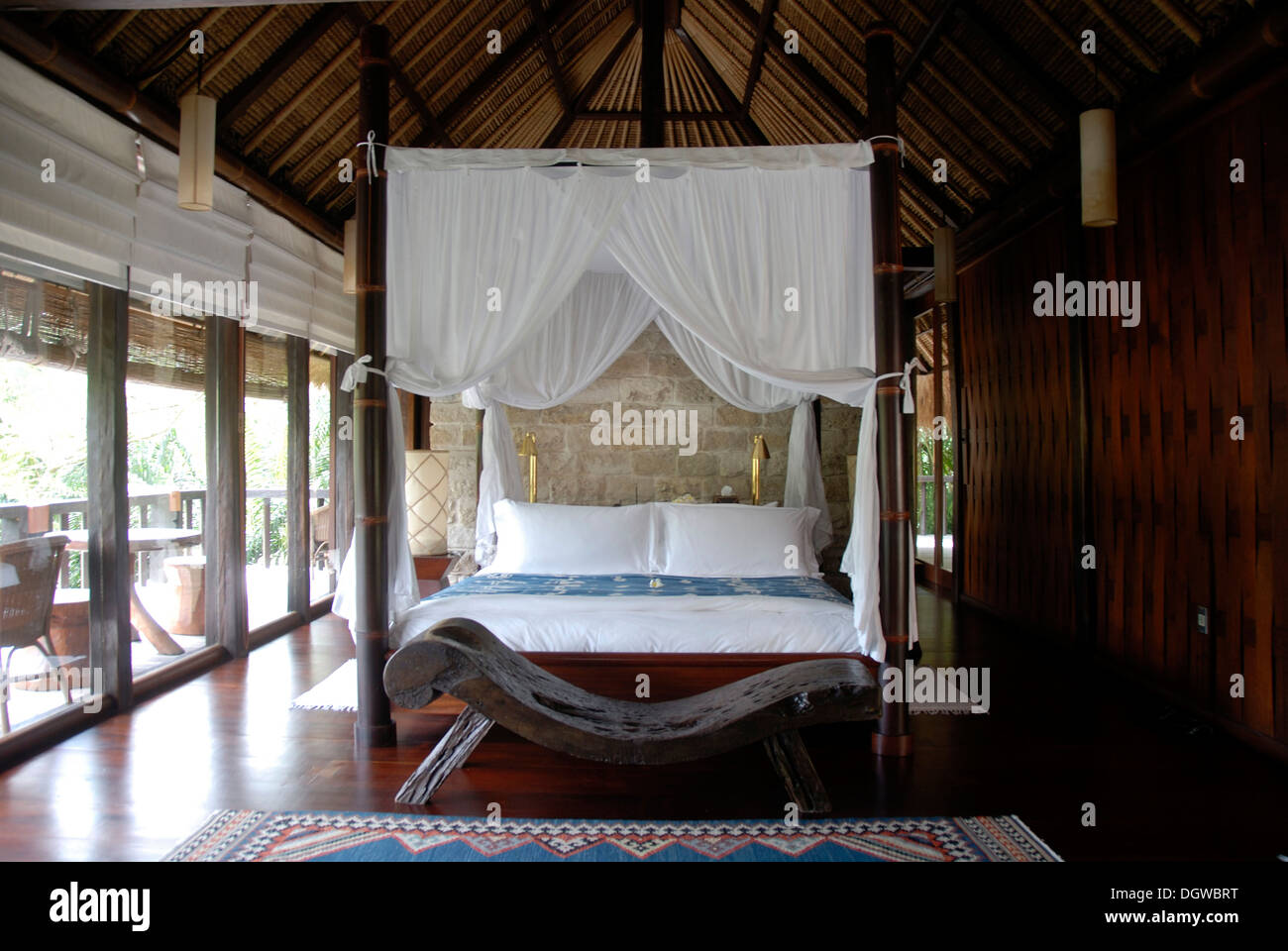 Hotel, bedroom with furnishings in a classy lodge, Como Shambhala Resort in Ubud, Bali, Indonesia, Southeast Asia, Asia - Stock Image