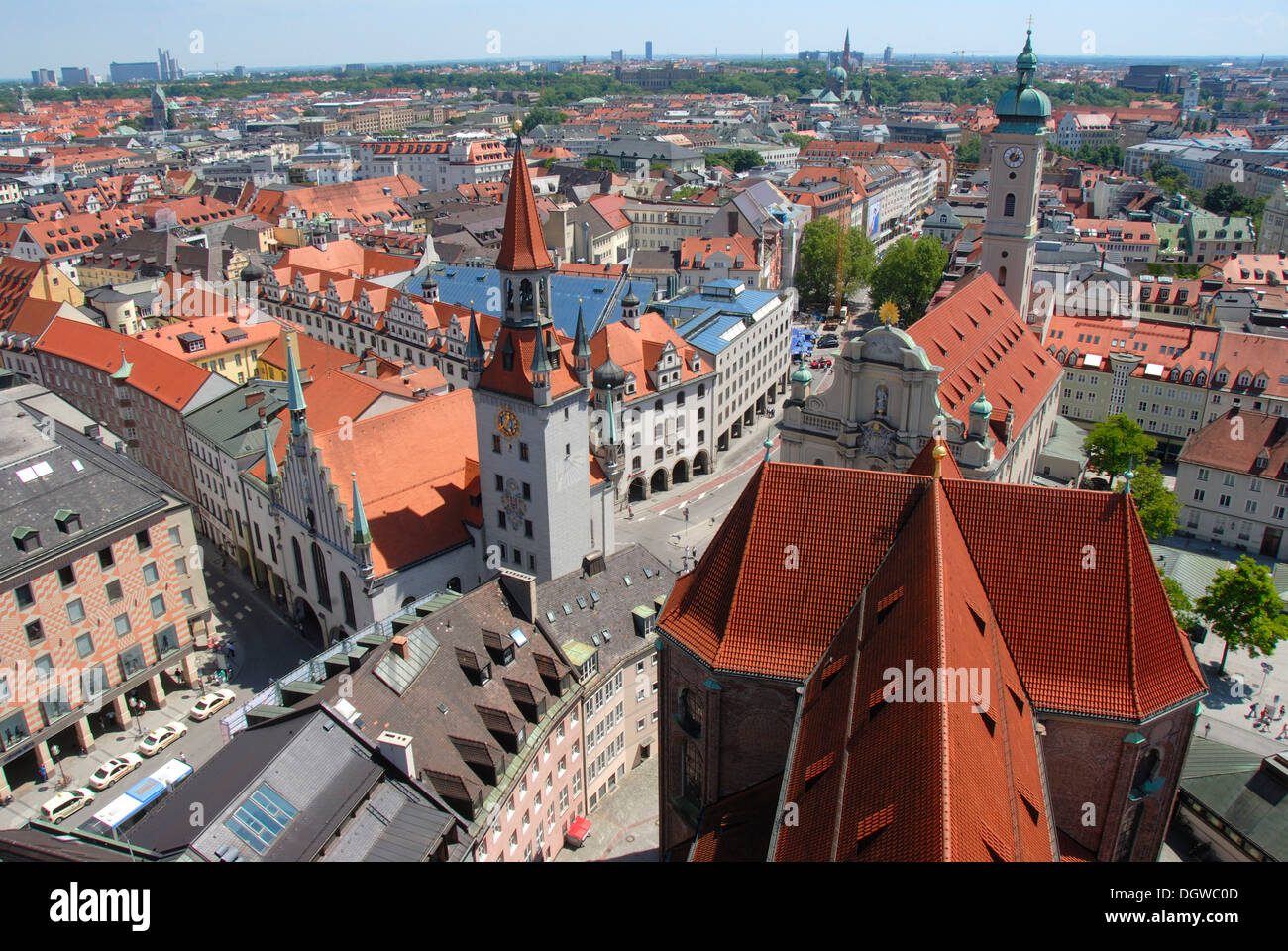 View from the 'Alter Peter' tower, St. Peter, of rooftops, city centre, Old Town Hall, Talburgtor Gate, - Stock Image
