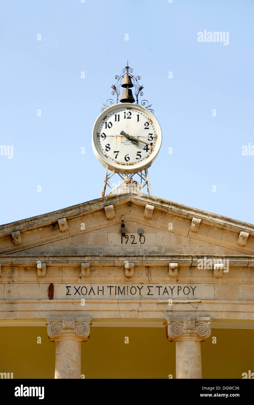 Clock on roof, Neoclassicism, old Ttwn hall, Pano Lefkara, Southern Cyprus, Republic of Cyprus, Mediterranean, Europe - Stock Image