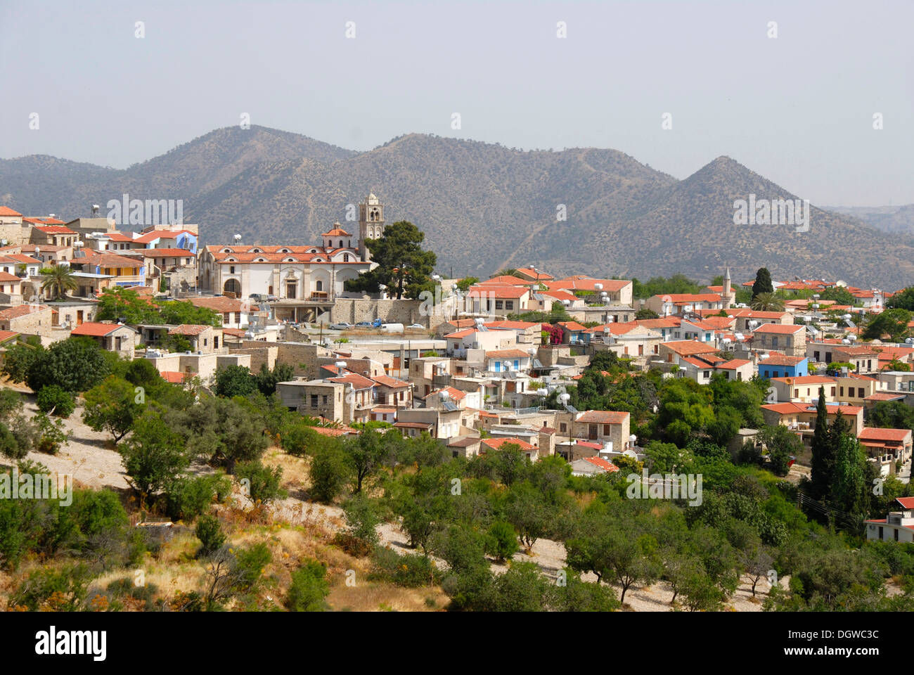 Overlooking the village with church spire and minaret, Pano Lefkara, Southern Cyprus, Republic of Cyprus, the Mediterranean - Stock Image
