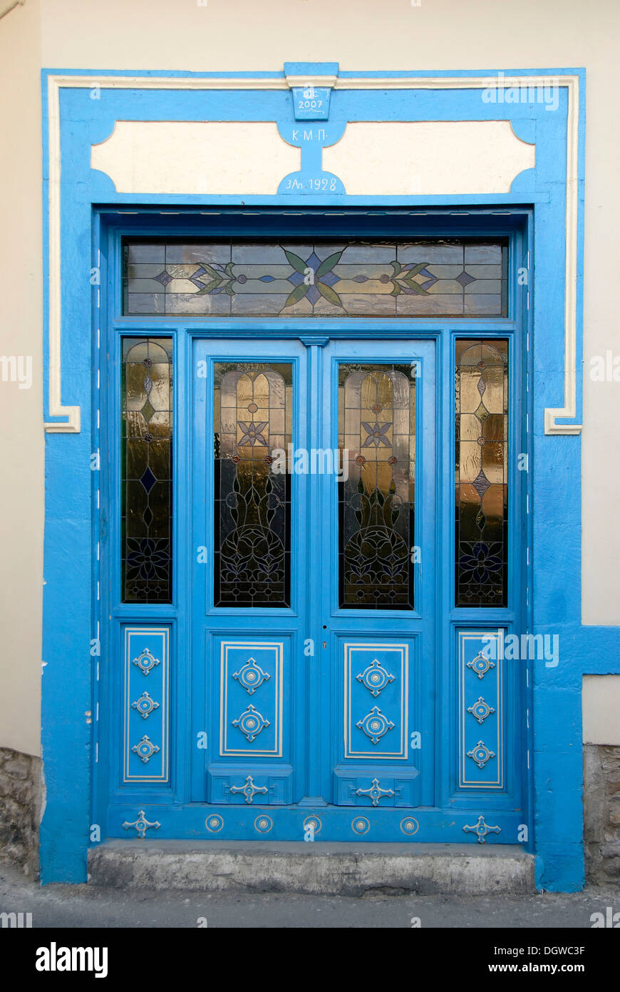 Ornate blue front door with glass, Pano Lefkara, Southern Cyprus, Republic of Cyprus, the Mediterranean, Europe - Stock Image