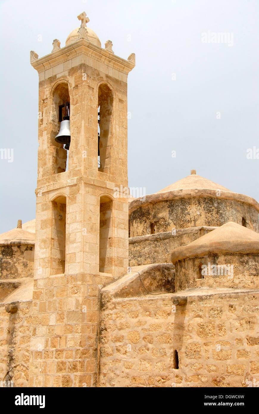 Greek Orthodox Christianity, church and steeple, Agia Paraskevi, Geroskipou near Paphos, Pafos, Southern Cyprus - Stock Image