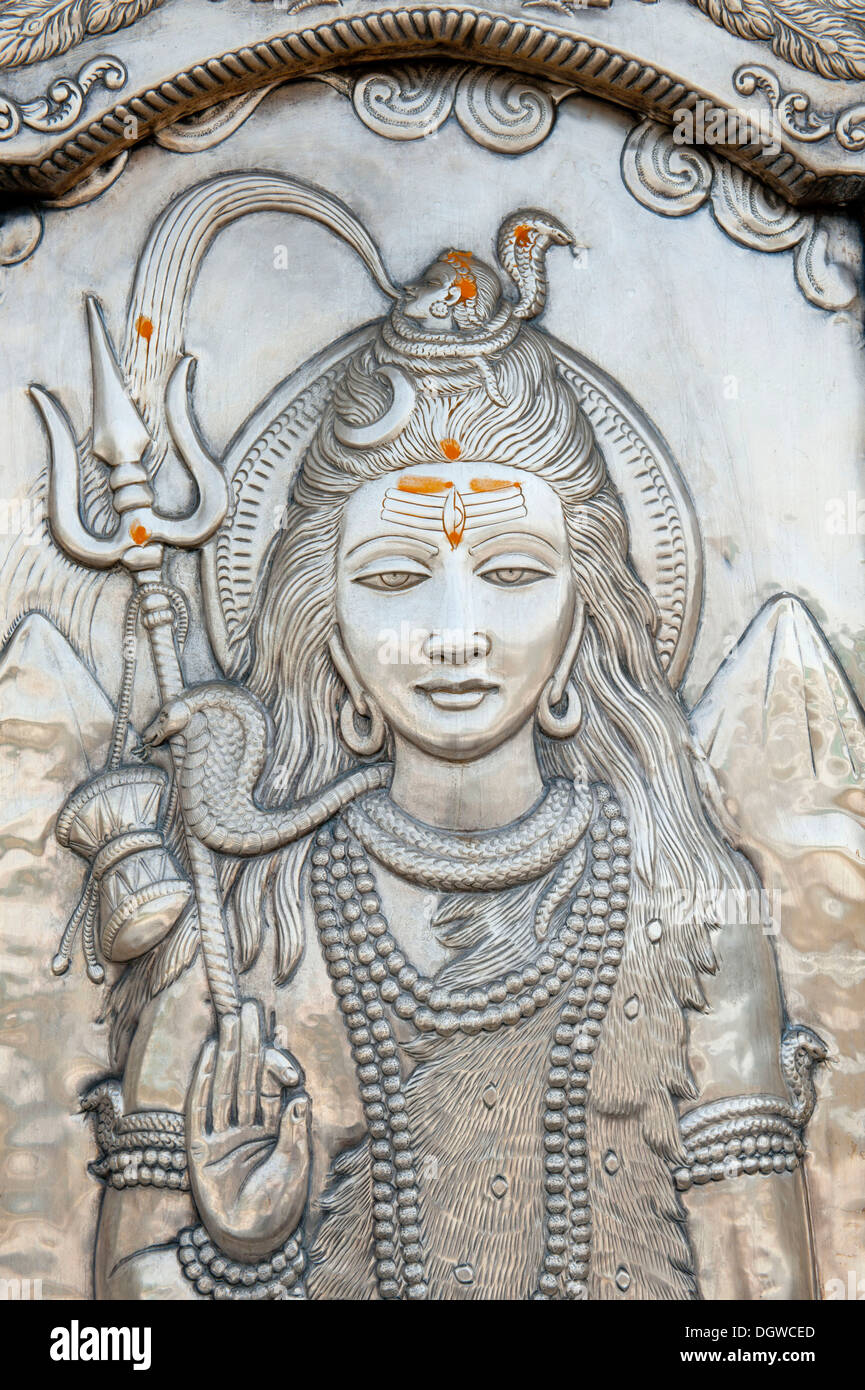 Hinduism, studded silver, God Shiva with a trident, god of creation and destruction, Durgiana Mandir Vishnu Temple, Amritsar - Stock Image