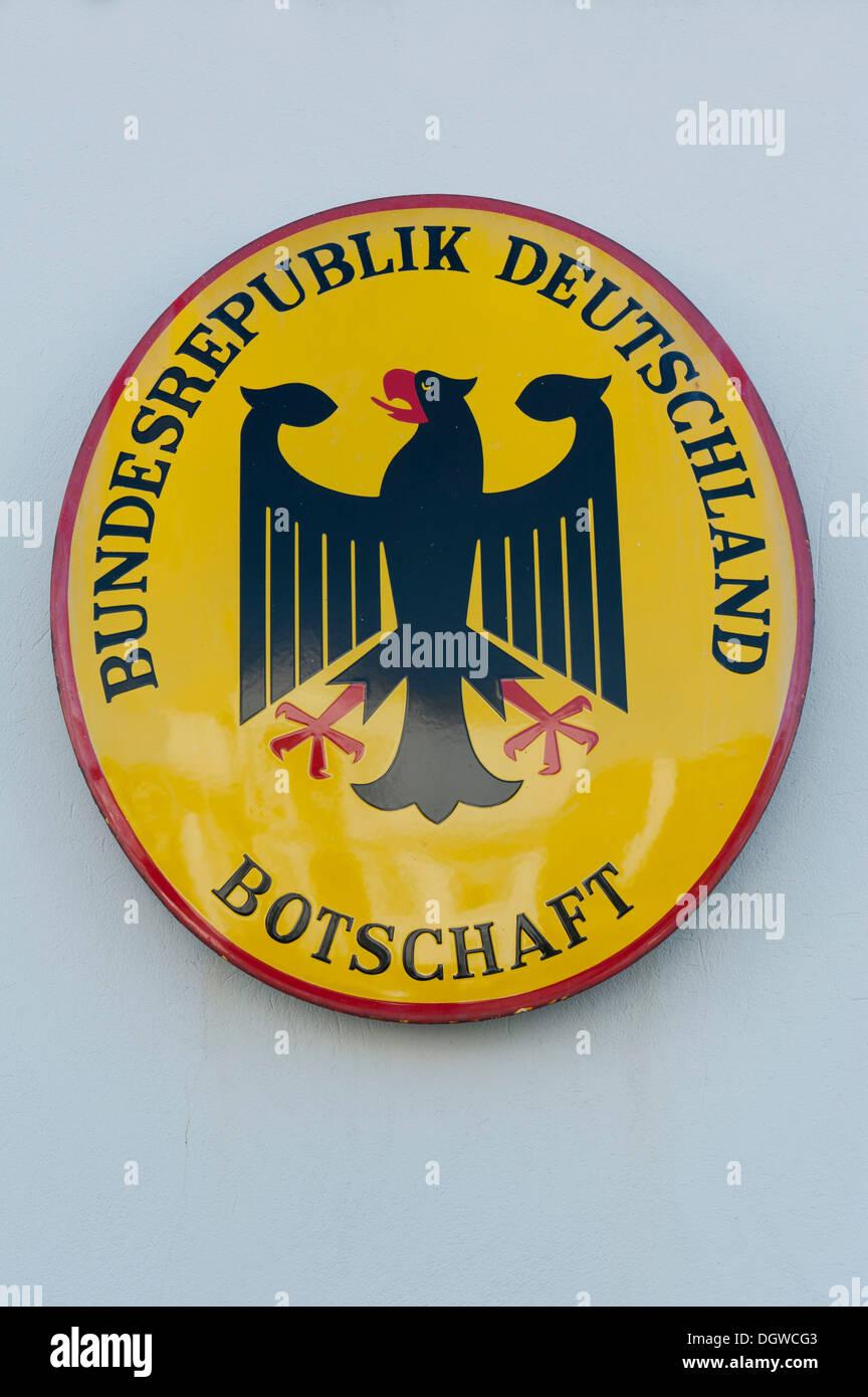 Embassy sign, German embassy, Botschaft, Bundesrepublik Deutschland, Federal Republic of Germany, Reykjavik Iceland Scandinavia - Stock Image