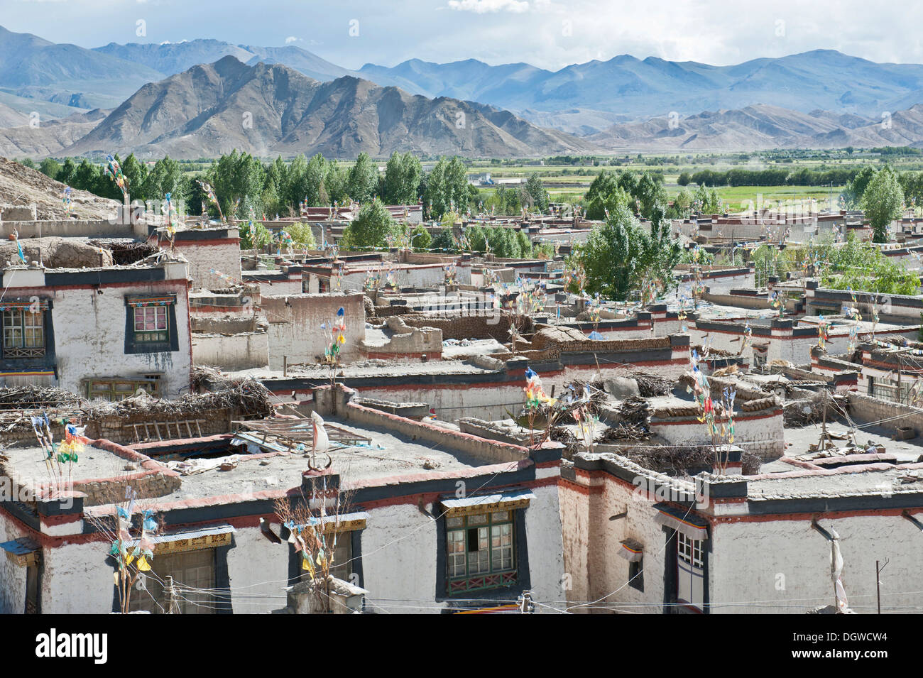 View of the historic district, houses with flat roofs, Gyantse, Himalaya Range, Central Tibet, Ue-Tsang, Tibet Autonomous Stock Photo