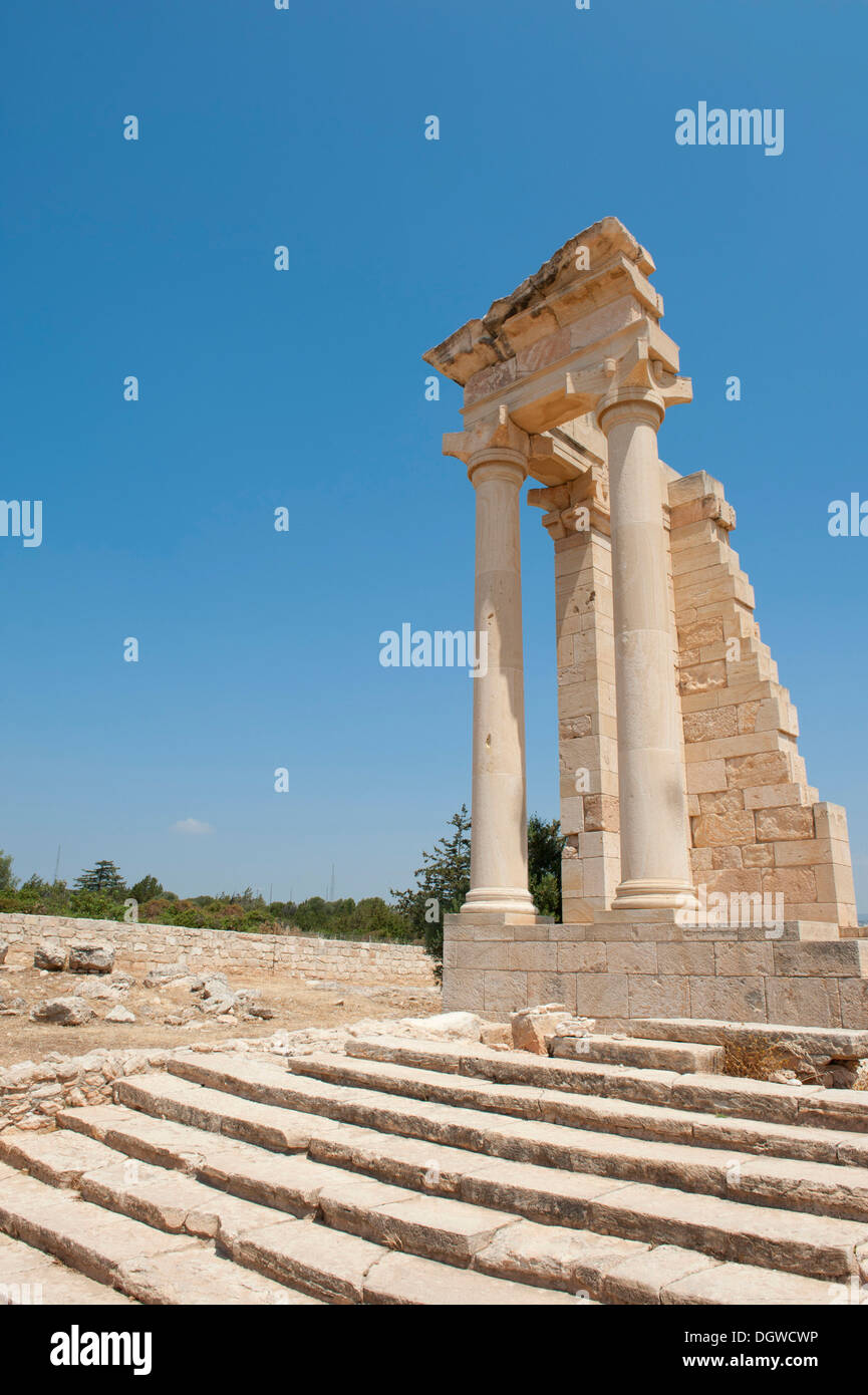 Archeology, ancient Greece, Sanctuary of Apollo Hylates, stairs, ruins, two columns, temples, Nabataean capitals, near Kourion - Stock Image