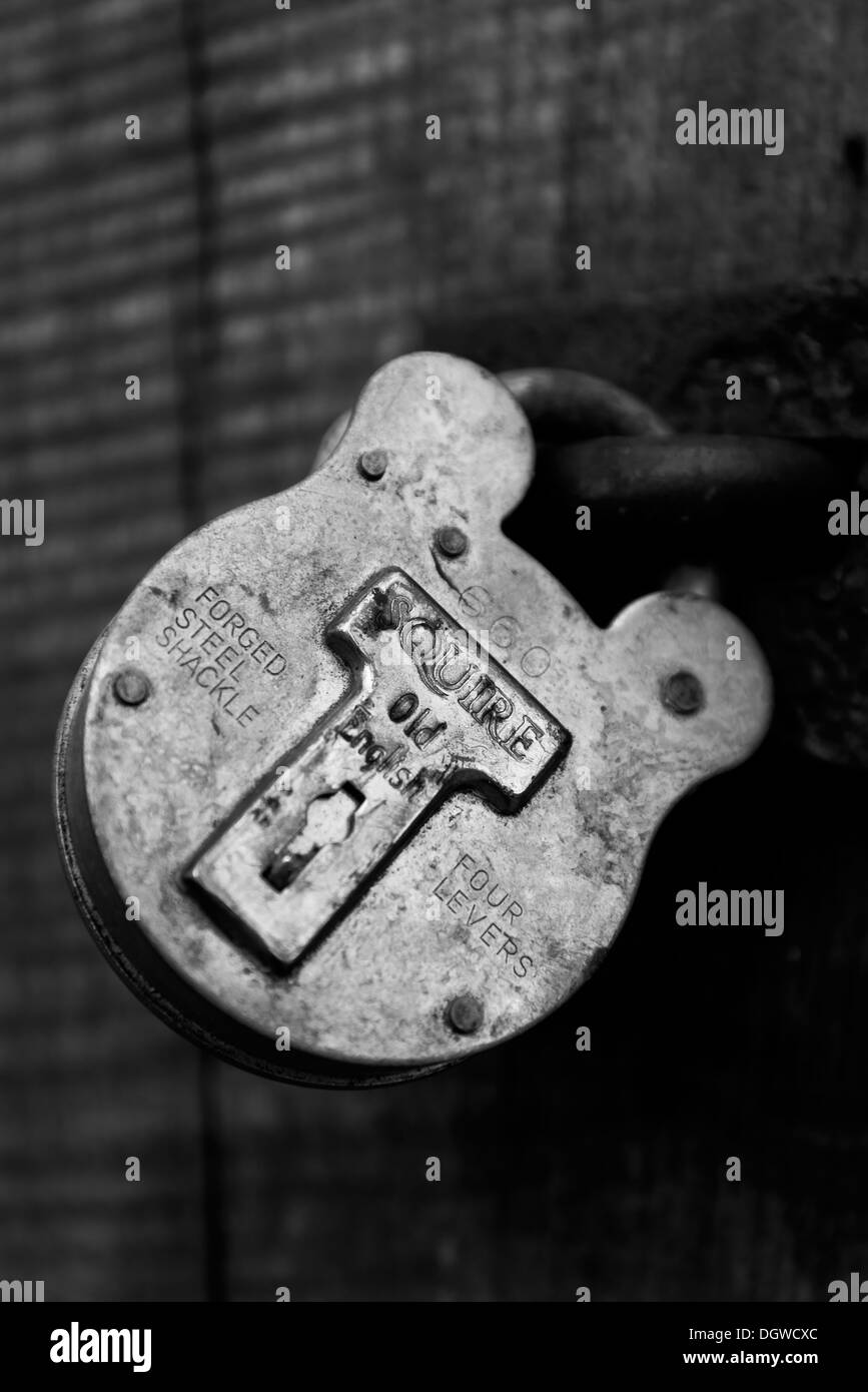 Black and white of Squire forged shackle lock - Stock Image