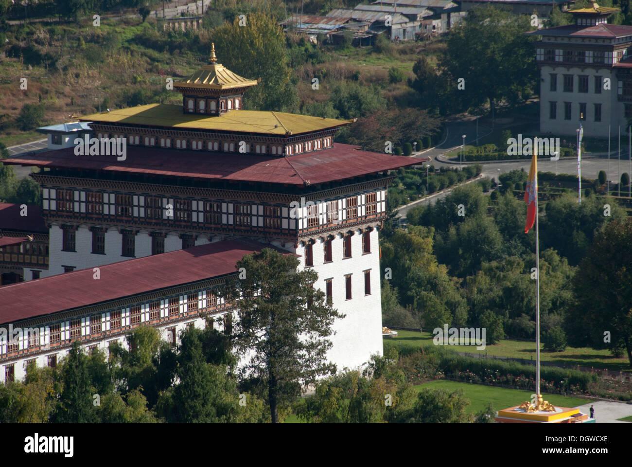 Fortress Monastery of Trashi Chhoe Dzong, seat of government, Thimphu, capital city, Kingdom of Bhutan, South Asia, Stock Photo