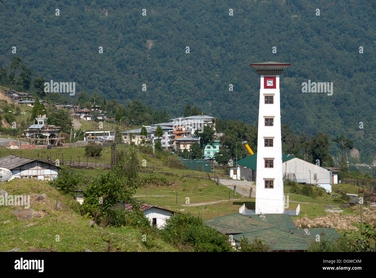 Gedhu village with a tower, Kingdom of Bhutan, South Asia, Asia - Stock Image