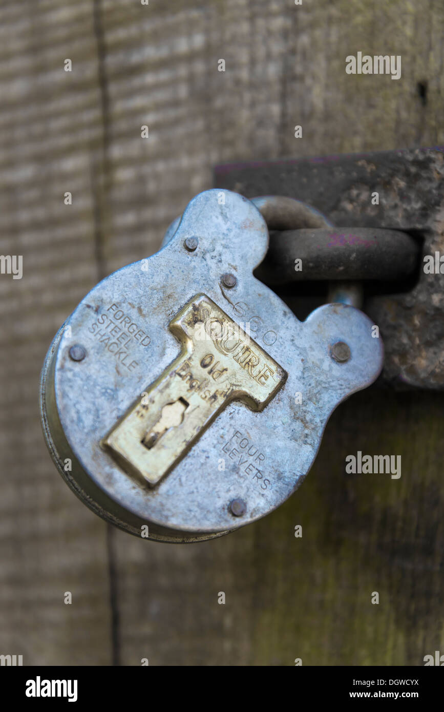 A Squire forged shackle lock - Stock Image
