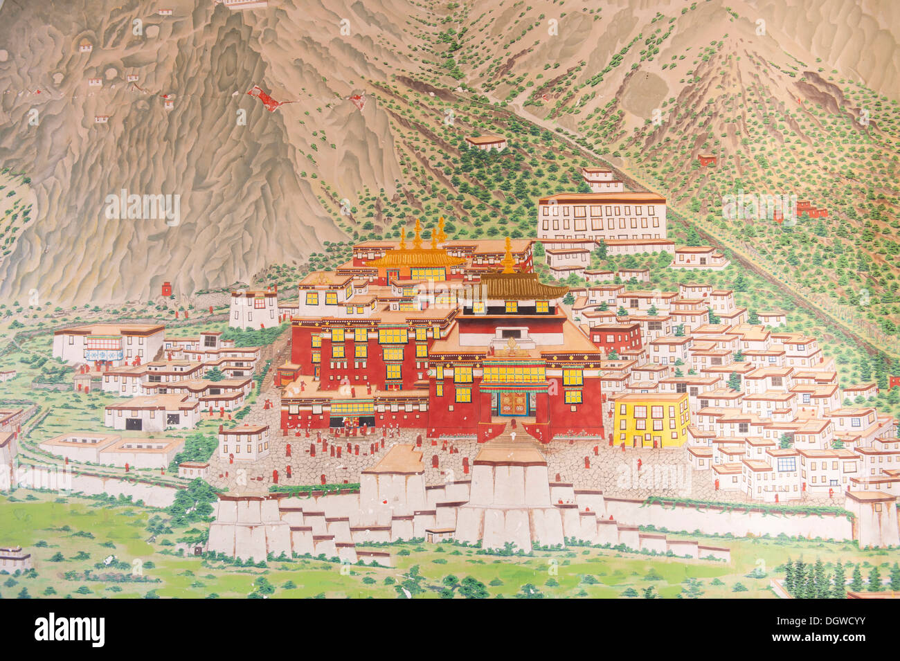 Tibetan Buddhism, main monastery of the Karma Kagyu lineage, Tsurphu in Tibet, mural at the entrance to the Rumtek Monastery - Stock Image