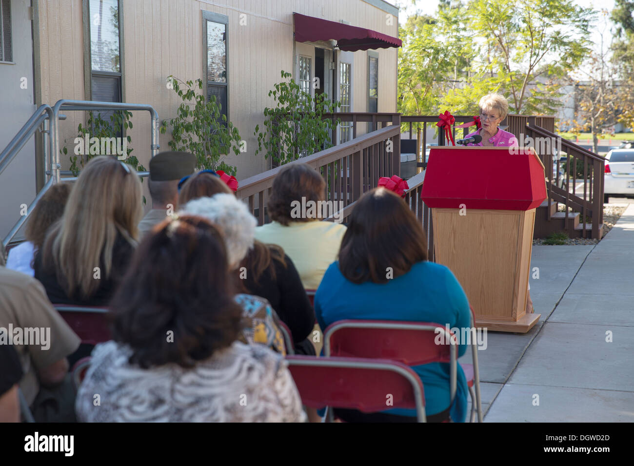 First Lady of the Marine Corps, Bonnie Amos, delivers her speech as the keynote speaker at the ribbon cutting ceremony for the Behavioral Health Branch's new Community Counseling Center aboard Marine Corps Air Station Miramar, Calif. Oct. 18. Amos said, ' - Stock Image
