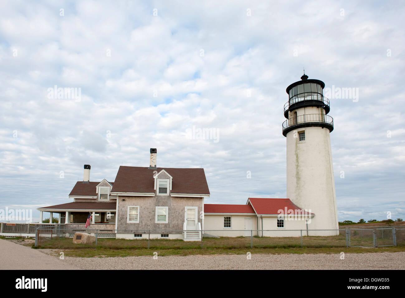 Lighthouse, Highland Light, North Truro, Cape Cod National Seashore, Massachusetts, New England, USA, North America - Stock Image