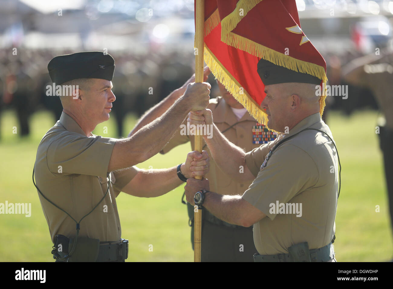 Colonel Jay M. Bargeron (left), 7th Marine Regiment commanding officer, and Col. Austin E. Renforth, former commanding officer, - Stock Image