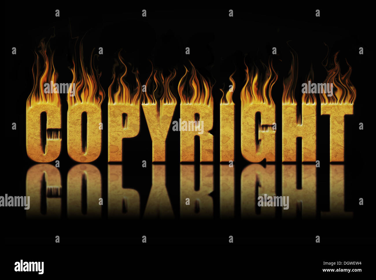 Copyright block of text in flames - Stock Image