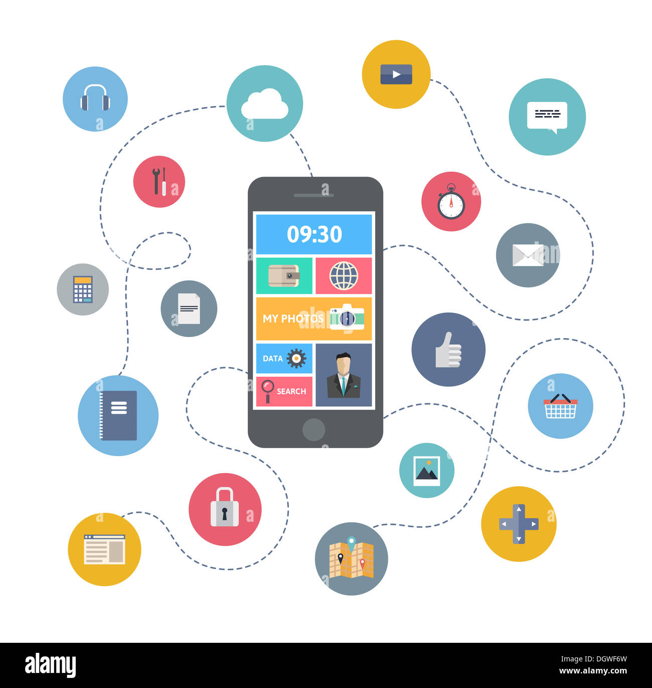 Flat design illustration concept of variety using of smartphone with lots of multimedia icons - Stock Image