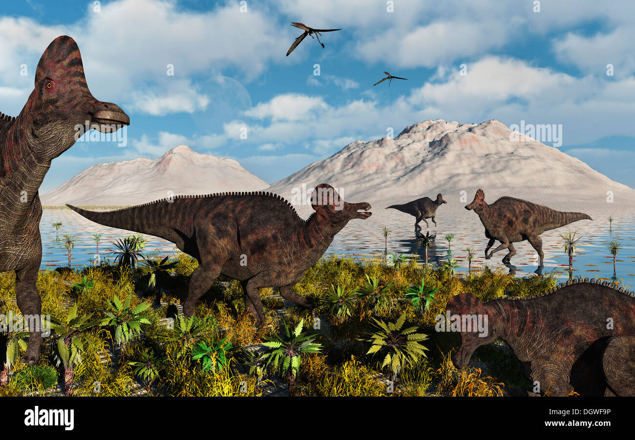 A Herd Of Duckbill Corythosaur Dinosaurs. - Stock Image