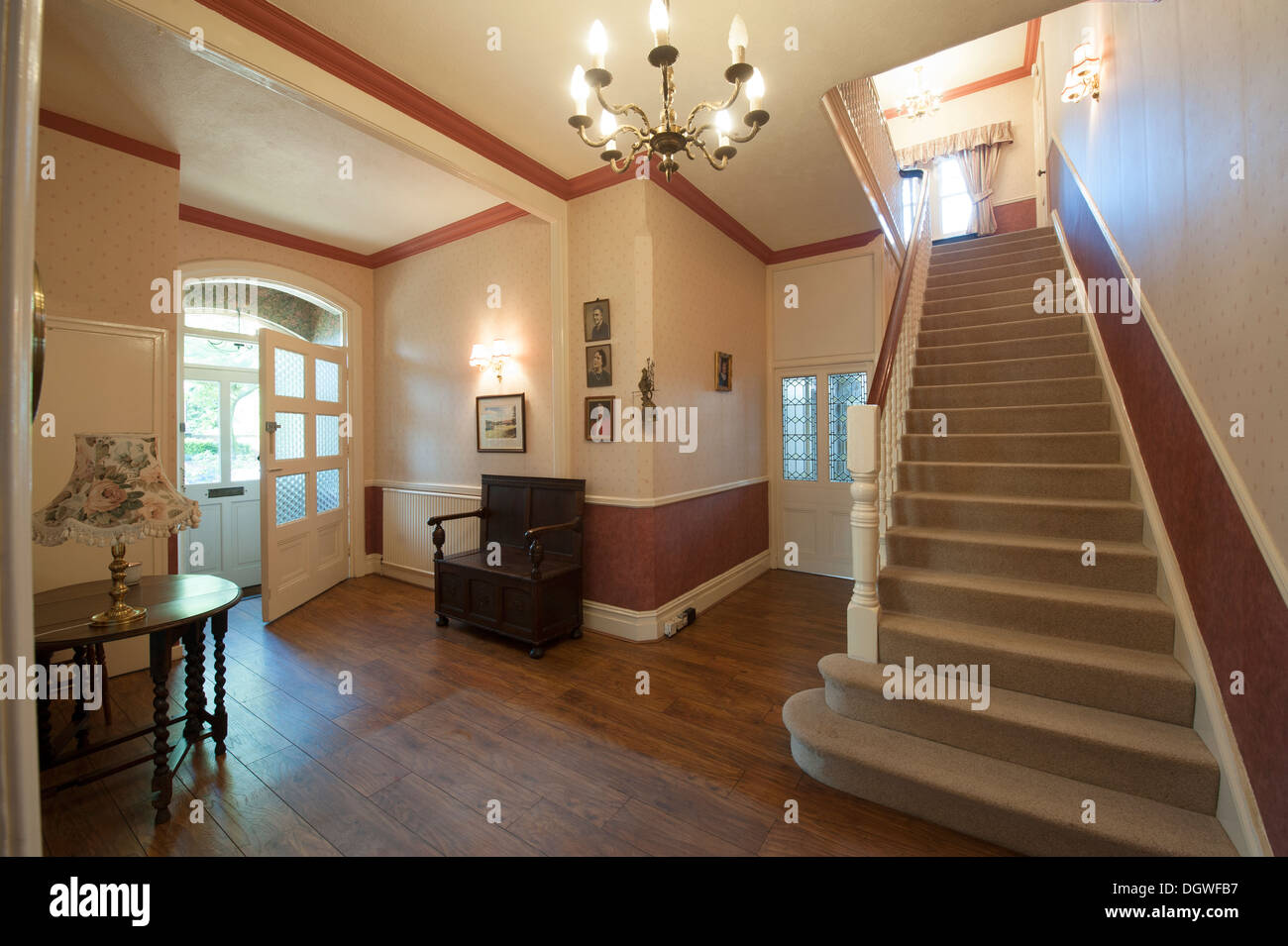 Grand Entrance Hall And Stairs English Country House   Stock Image