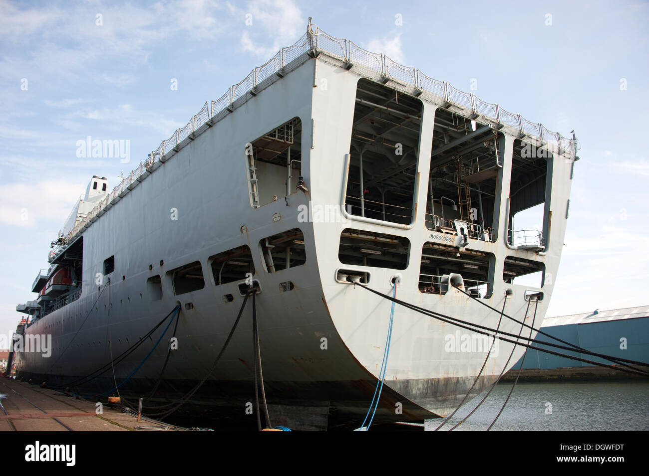 Stern deck of Royal Navy Ship Decommissioned - Stock Image