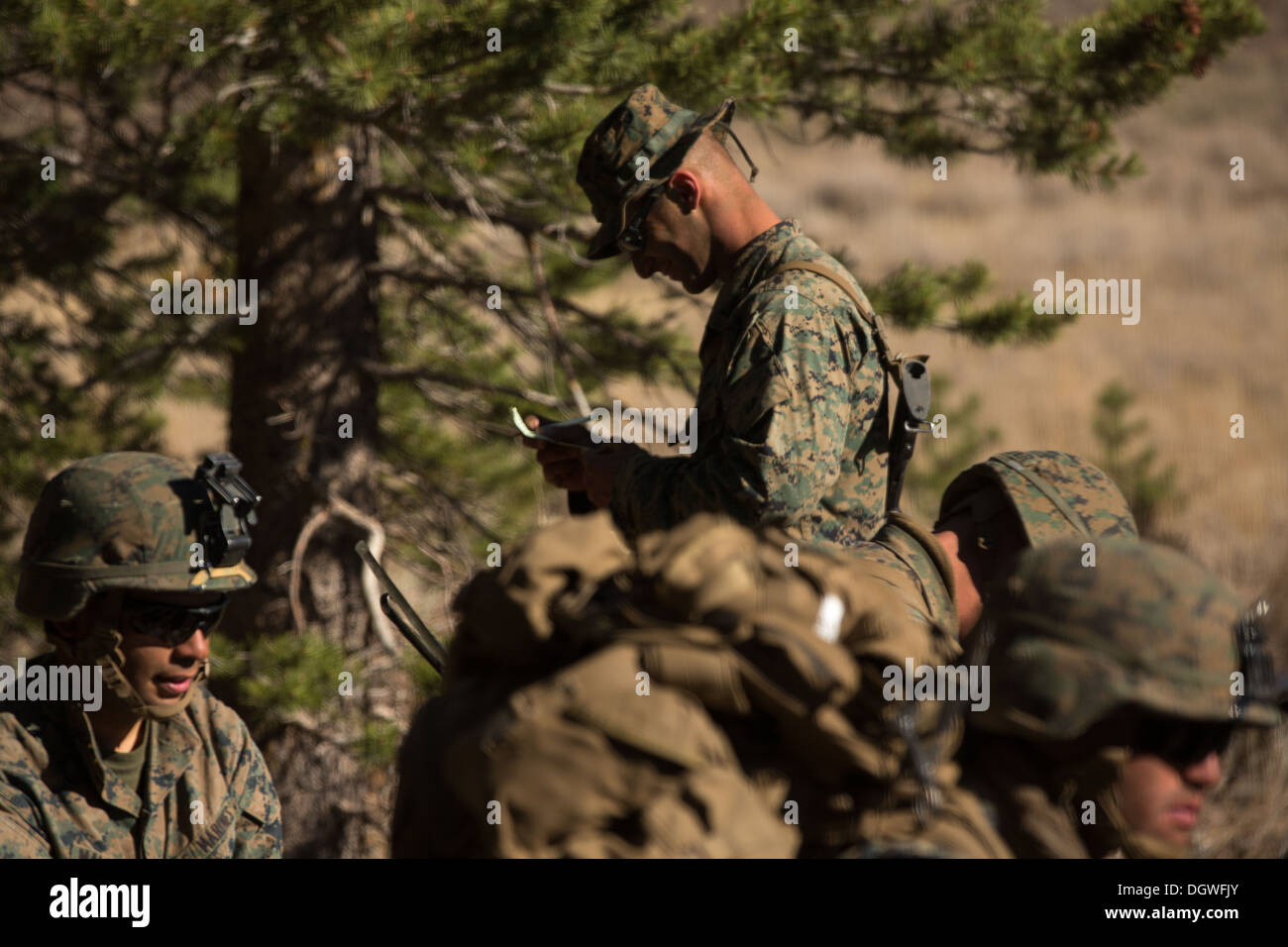 U.S. Marines from 1st Battalion, 5th Marine Regiment (1/5), 1st Marine Division from Camp Pendleton, Calif. wait at an extraction point at Marine Corps Mountain Warfare Training Center (MCMWTC) Bridgeport, California during Mountain Exercise (MTNEX) 6-13, - Stock Image