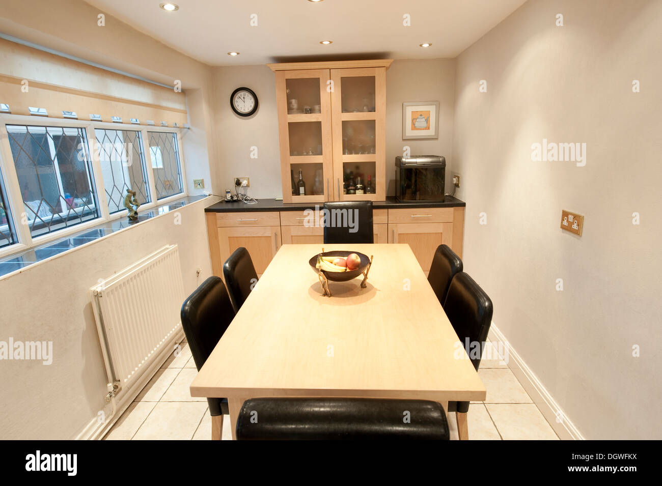 Bright Modern Clean Dining Room Table Middle Class Stock Photo