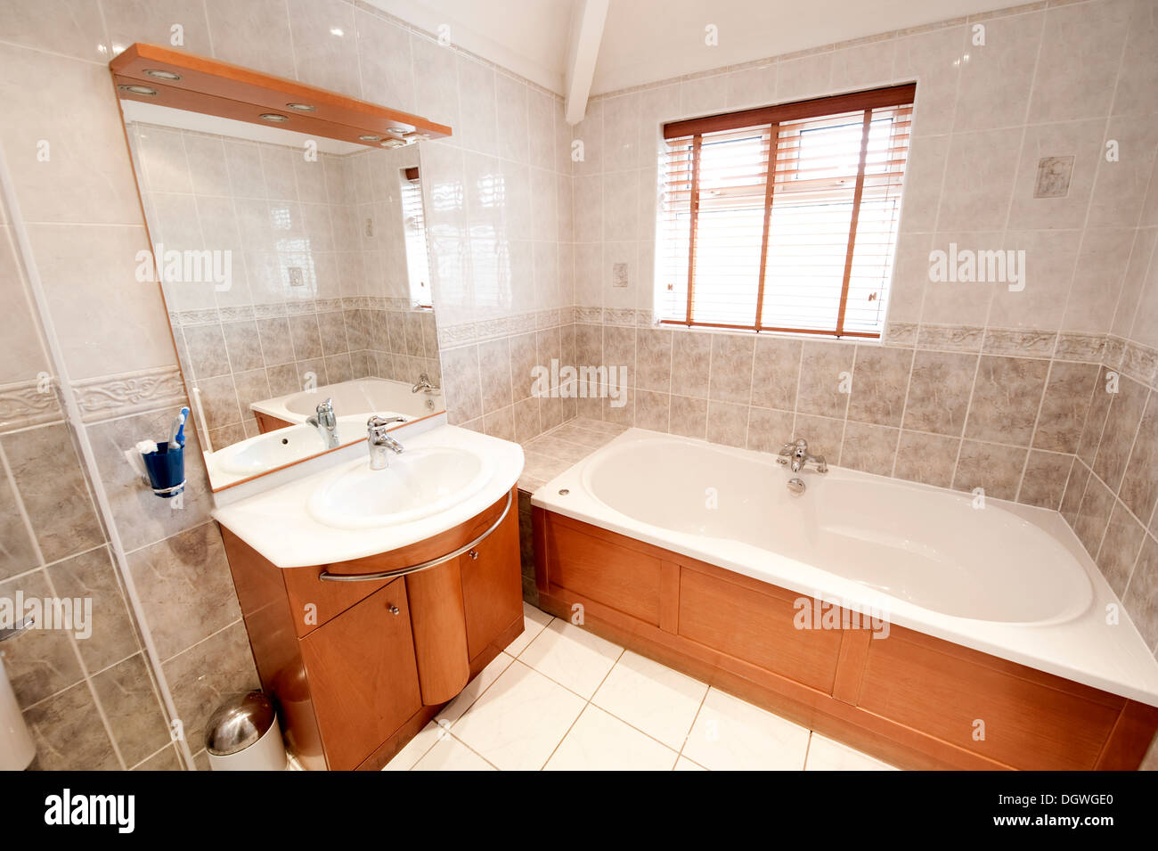 Modern house bath room bathroom washroom tub sink Stock Photo ...